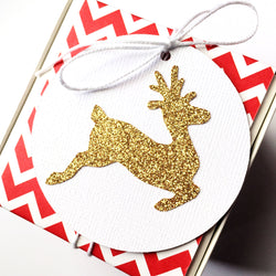 Reindeer Gold Glitter gift tags