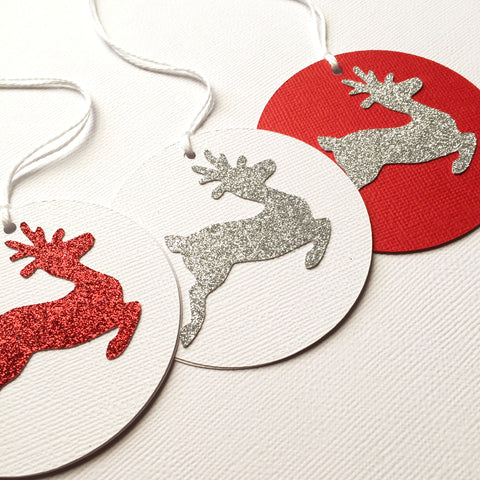 Reindeer Silver Glitter gift tags