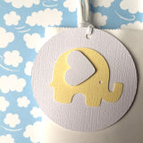 Elephant Baby Gift Tags - Pastel Yellow