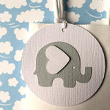 Elephant Baby Gift Tags - Light Grey