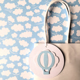 Hot Air Balloon Baby Blue Gift Tags