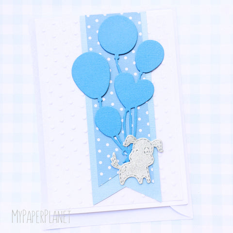 Puppy Dog with Balloons Baby Card in Blue