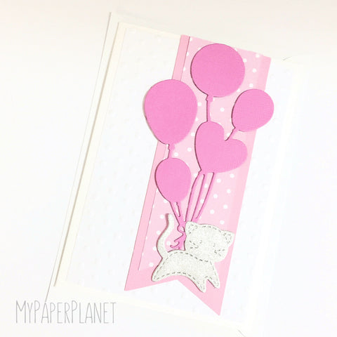 Cat with Balloons Baby Card in Pink
