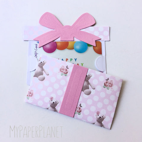 Gift Card Holder - Baby Pink Teddy Bear