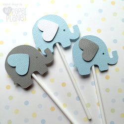 Elephant Cupcake Toppers Light Blue and Grey