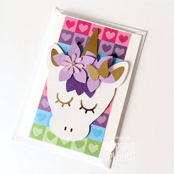Unicorn Rainbow Hearts Greeting Card
