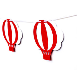 Hot Air Balloon and Cloud Banner in Red