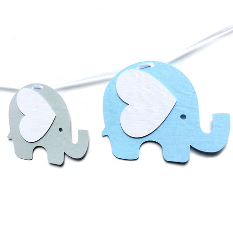 Elephant Banner Blue and Grey