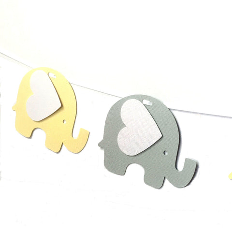 Elephant Banner Pastel Yellow and Grey