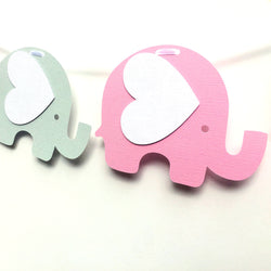Elephant Banner Pink and Grey