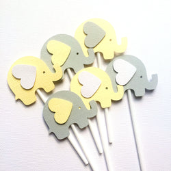 Elephant Cupcake Toppers Pastel Yellow and Grey