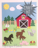 Craft Kit. DIY Farm yard animals picture. Kids paper craft, home school activity.