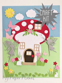 Craft Kit. DIY Fairy House picture. Kids paper craft, home school activity.