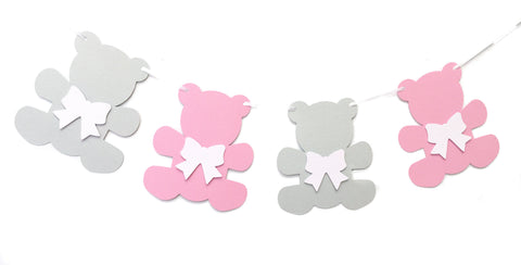 Teddy Bear Garland Pink and Grey