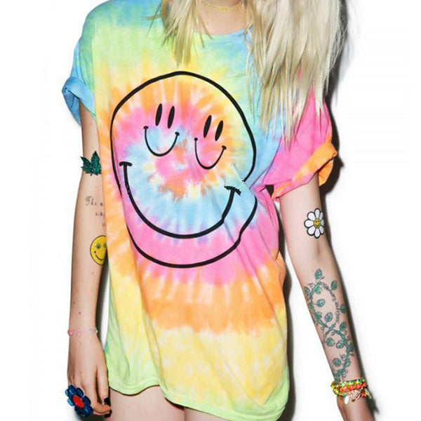 Uppers Tie Dye Smiley Tee