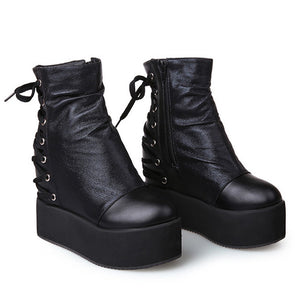 67ed97a0497 Asphyxiate Chunky Wedge Boots (2 Colors) – AlienMood
