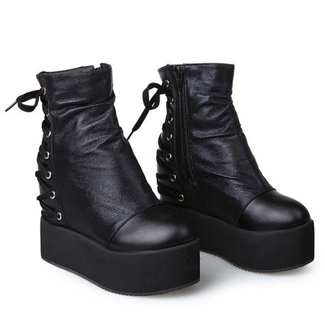 Asphyxiate Chunky Wedge Boots (2 Colors)