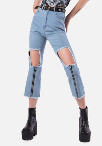 Splitz Open Knee Jeans