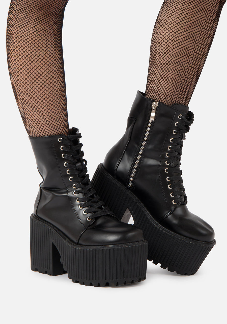 Dominatrix Chunky Lace Boots