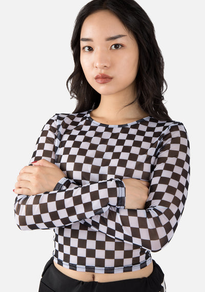 Teaser Checkered Long Sleeve Top