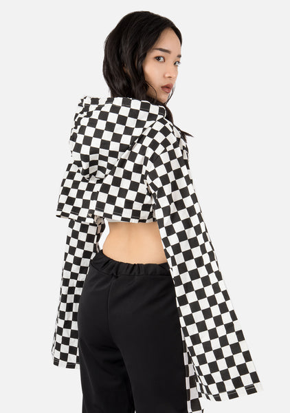 Heartbreak Checkered Crop Hoodie