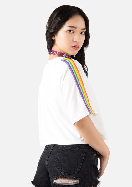 Illusion Rainbow Striped Cropped Tee (2 Colors)