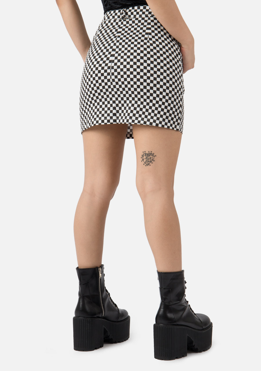 Negativity Checkered A Line Skirt