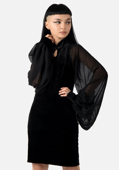 Necromancer Mesh Sleeve Qipao Dress