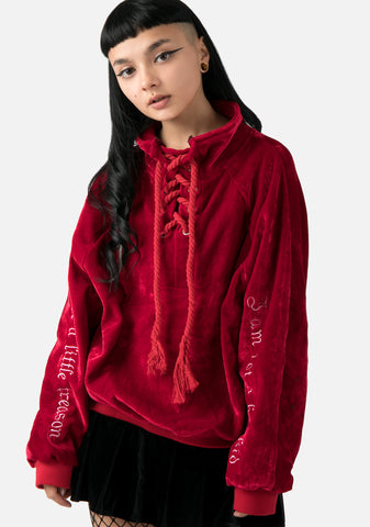Velvet Riot Lace Up Sweatshirt (2 Colors)