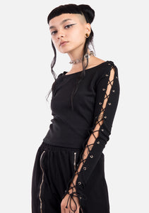 Goth Spice Laced Up Top