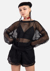 Rosalie Fishnet Sweatshirt + Shorts Set