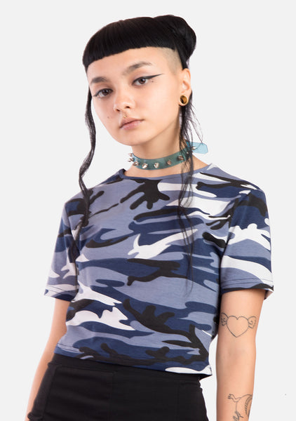 Feelin' Blue Camo Top