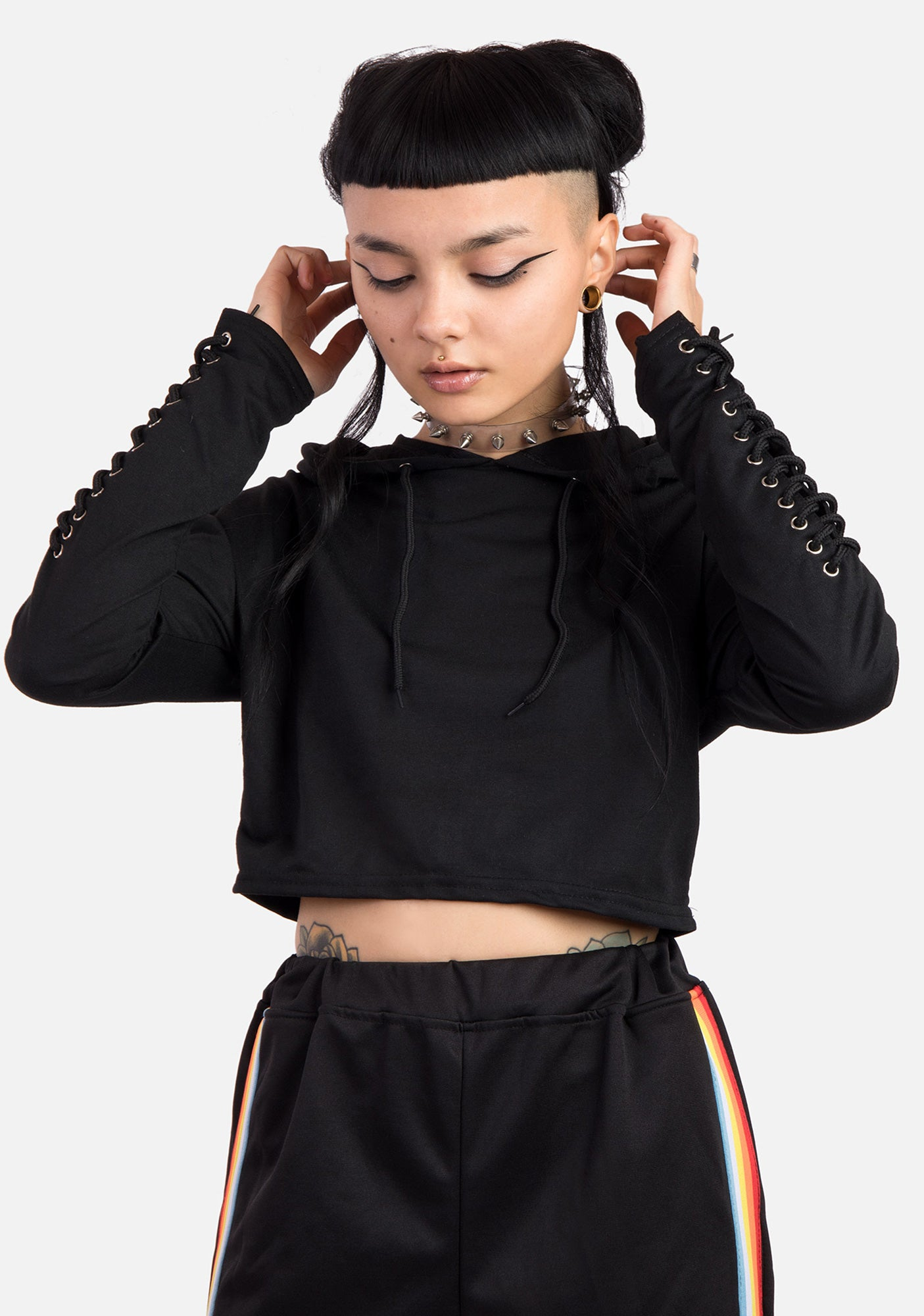 Saber Lace Up Cropped Hoodie