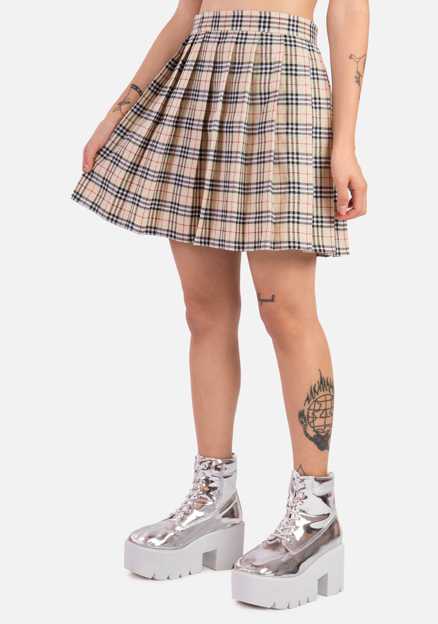 Daze High Waisted Pleated Skirt