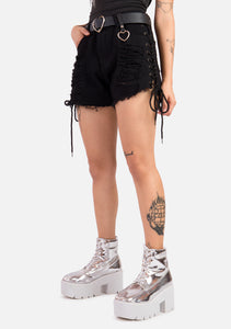 Graveyard Ripped Lace Up Shorts