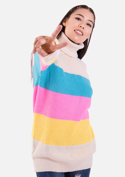 Marshmallow Striped Oversized Sweater