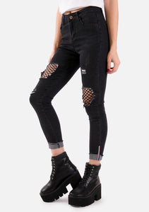 Destruction Fishnet Skinny Jeans (2 Colors)