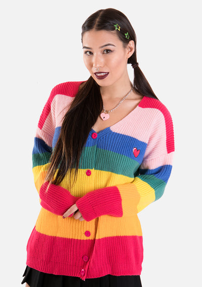 Boring Rainbow Knitted Cardigan