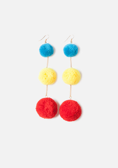 Primary Pom Pom Earrings