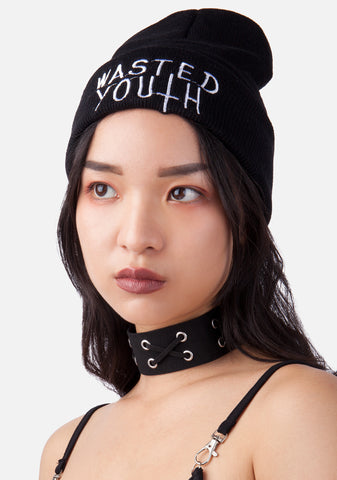 Wasted Youth Embroidered Beanie