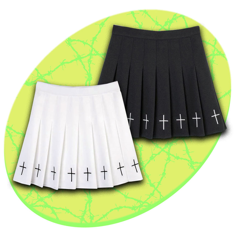 Crucifixion Pleated Skirt (2 Colors)