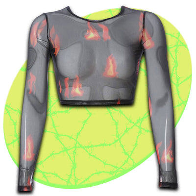 Flame On Mesh Long Sleeve