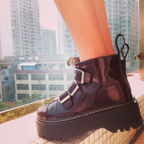 Buckle Down Chunky Ankle Boots