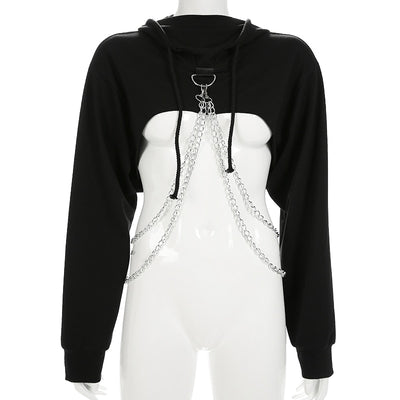 Exxtra Crop Chained Hoodie