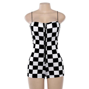 Checkerboard Zip Thru Romper