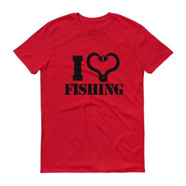 I Love Fishing Black Text T-Shirt - Festival Printing