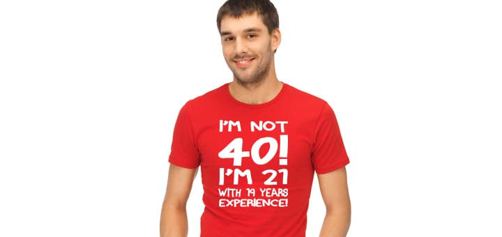 I'm Not 40 I'm 21 with 19 Years Experience Birthday Shirt - White - Festival Printing