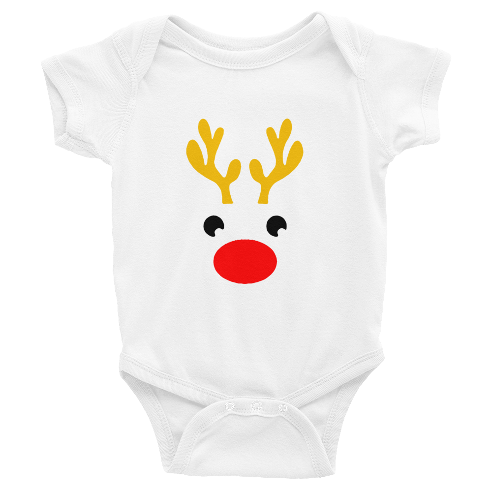 Christmas Reindeer Gold Baby Onesie Red Nose - 0 to 24 months