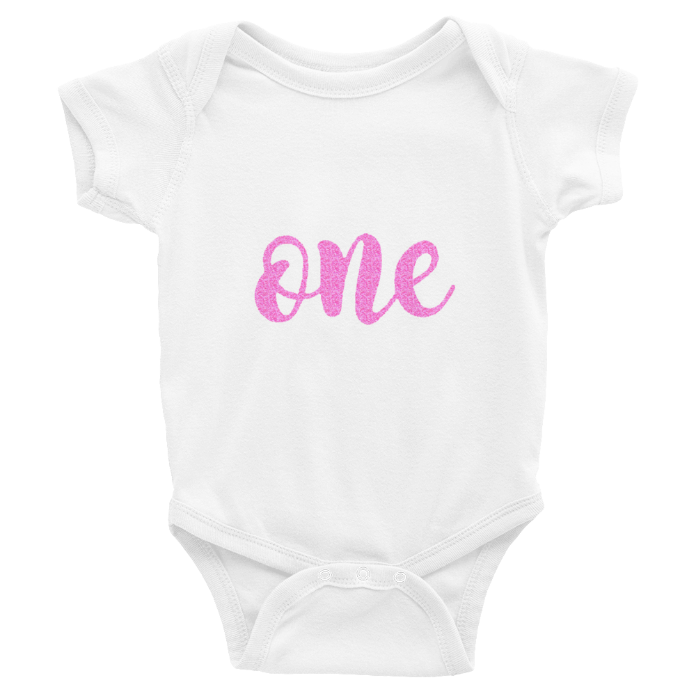 One Pink Glitter Baby Onesie Birthday