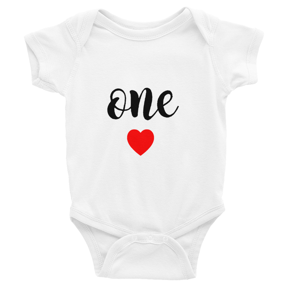 One Heart Baby Onesie Birthday
